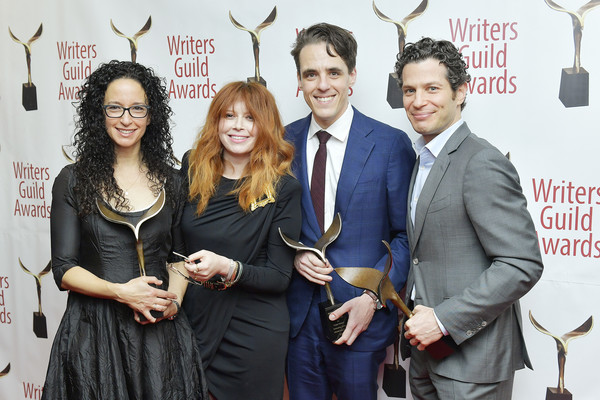 72nd Writers Guild Awards - New York Ceremony - Inside [event,fashion,award,white-collar worker,formal wear,thomas kail,steven levenson,natasha lyonne,debora cahn,writers guild awards,new york,edison ballroom,72nd writers guild awards,natasha lyonne,steven levenson,debora cahn,72nd writers guild of america awards,thomas kail,new york,photograph,actor,image,television]