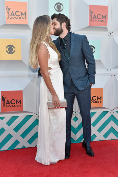 51st Academy of Country Music Awards - Arrivals [red carpet,carpet,green,red,flooring,premiere,yellow,suit,formal wear,event,thomas rhett,arrivals,lauren gregory,nevada,las vegas,mgm grand garden arena,l,academy of country music awards]