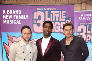 "(L-R) Anthony Costa, Simon Webbe and Lee Ryan attend a VIP performance of ""The Three Little Pigs"" at Palace Theatre on August 6, 2015 in London, England."