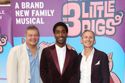 "(L-R) Anthony Drewe, Simon Webbe and George Stiles attend a VIP performance of ""The Three Little Pigs"" at Palace Theatre on August 6, 2015 in London, England."