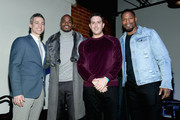 (L-R) Thuzio co-founder and CEO Jared Augustine, Adrian Peterson, Adam Lefkoe and David Johnson attend The Thuzio Party During Super Bowl Weekend at SweetWater Brewery on February 1, 2019 in Atlanta, Georgia.
