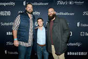 (L-R) Mike Johnson, Boomer Dangel and Joe Howley attend The Thuzio Party During Super Bowl Weekend at SweetWater Brewery on February 1, 2019 in Atlanta, Georgia.