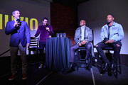 (L-R) Thuzio co-founder and CEO Jared Augustine, Adam Lefkoe, Adrian Peterson and David Johnson speak onstage at The Thuzio Party During Super Bowl Weekend at SweetWater Brewery on February 1, 2019 in Atlanta, Georgia.