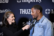 Candace Lewis (L) and David Johnson attend The Thuzio Party During Super Bowl Weekend at SweetWater Brewery on February 1, 2019 in Atlanta, Georgia.