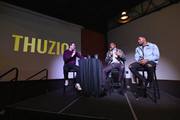 (L-R) Adam Lefkoe, Adrian Peterson and David Johnson speak onstage at The Thuzio Party During Super Bowl Weekend at SweetWater Brewery on February 1, 2019 in Atlanta, Georgia.