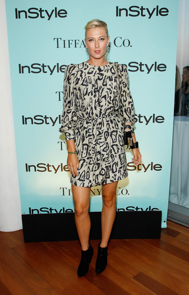 Tennis player Maria Sharapova attends a cocktail party honoring two greats at their game hosted by InStyle and Tiffany & Co. at The Cooper Square Hotel - Penthouse on August 25, 2009 in New York City.