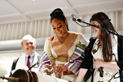 (L-R) Billy Crystal, Tiffany Haddish and Aliza Rose Silverman speak onstage during Tiffany Haddish: Black Mitzvah at SLS Hotel on December 03, 2019 in Beverly Hills, California.