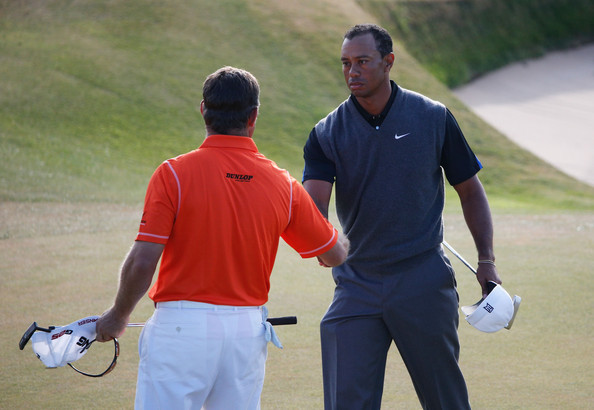 142nd Open Championship - Round Three [golf,sport venue,sports,championship,fourball,ball game,golf course,competition event,recreation,player,tiger woods,lee westwood,hands,england,united states,scotland,gullane,muirfield,open championship,round]