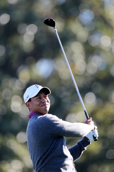 Tiger Woods Tiger Woods watches his shot during a practice round prior to the 2011 Masters Tournament at Augusta National Golf Club on April 6, 2011 in Augusta, Georgia.
