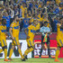 Andre-Pierre Gignac of Tigres celebrates with teammates after scoring his team's first goal during the 8th round match between Tigres UANL and Atlas as part of the Torneo Clausura 2018 Liga MX at Universitario Stadium on February 17, 2018 in Monterrey, Mexico.