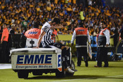Jose Maria Basanta of Monterrey leaves the field on a medical cart during the 10th round match between Tigres UANL and Monterrey as part of the Torneo Apertura 2018 Liga MX at Universitario Stadium on September 23, 2018 in Monterrey, Mexico.