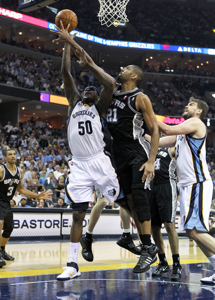 Zach Randolph And Tim Duncan  San Antonio Spurs V Memphis Grizzles