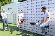 Andrew Cotter, Lindsay Davenport and Tim Henman participate in a Wimbledon press conference with a twist, on HSBC's Court 20 at Wimbledon on July 2, 2019 in London, England.