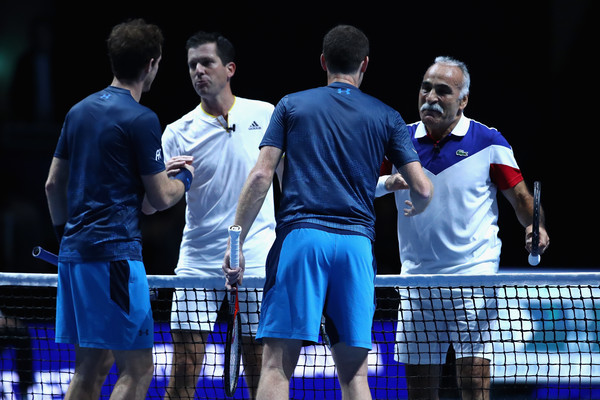 Andy Murray Live 2017 [championship,sport venue,competition event,team,sports,player,event,racquet sport,competition,tennis,andy murray,winnes,mansour bahrami,jamie murray,tim henman,hands,scotland,glasgow,the hydro,andy murray live]
