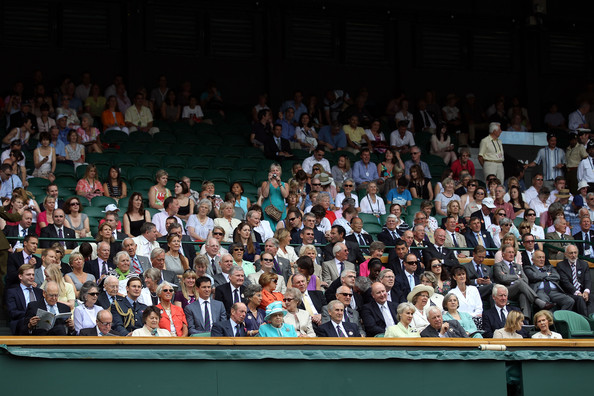The Championships - Wimbledon 2010: Day Four [audience,crowd,people,event,convention,auditorium,stadium,applause,sport venue,elizabeth ii,tim henman,the duke of kent,andy murray,wimbledon 2010,c,finland,l,wimbledon lawn tennis championships,match]