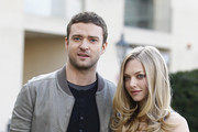 Actors Justin Timberlake and Amanda Seyfried attend the 'In Time' photocall at Hotel Adlon on November 2, 2011 in Berlin, Germany.