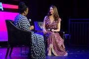 "Tarana Burke (L) and Ashley Judd speak onstage at ""Time's Up"" during the 2018 Tribeca Film Festival at Spring Studios on April 28, 2018 in New York City."