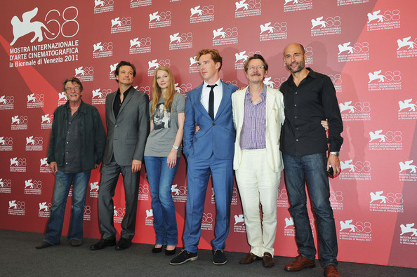 "(L-R)  Actors John Hurt, Colin Firth, Svetlana Khodchenkova, Benedict Cumberbatch, Gary Oldman and Mark Strong  pose at the ""Tinker, Tailor, Soldier, Spy"" photocall during the 68th Venice Film Festival at Palazzo del Cinema on September 5, 2011 in Venice, Italy."