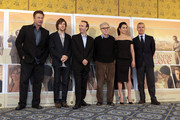(L - R) Actors Alec Baldwin, Jesse Eisenberg, Roberto Benigni, director Woody Allen and actress Penelope Cruz and Medusa president Giampaolo Letta attend 'To Rome With Love' photocall at Hotel Parco dei Principi on April 13, 2012 in Rome, Italy.