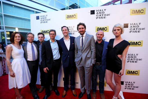 'Halt and Catch Fire' Premieres in Hollywood [halt and catch fire,series,carpet,event,red carpet,premiere,award,flooring,white-collar worker,team,company,tourism,kerry bishe,scoot mcnairy,jonathan lisco,mark johnson,charlie collier,los angeles,amc,red carpet]
