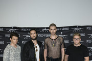 Georg Moritz Hagen Listing, Tom Kaulitz, Bill Kaulitz, Gustav Klaus Wolfgang Schaefer attend the Tokio Hotel Press Conference & Photocall on October 2, 2014 in Berlin, Germany. After a five year break, the new Tokio Hotel record 'Kings Of Suburbia' will be released on October 3.