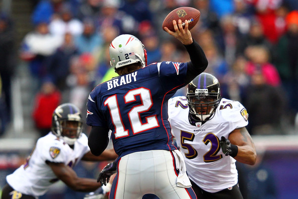 Ray Lewis and Tom Brady - AFC Championship - Baltimore Ravens v New England Patriots
