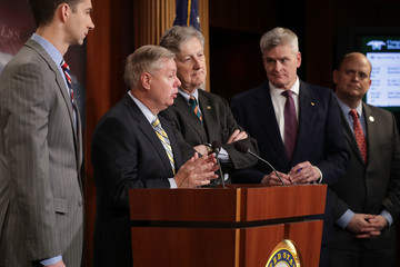 Tom Cotton Sen. Lindsey Graham And GOP Lawmakers Hold News Conference To Discuss Opioid Epidemic Legislation