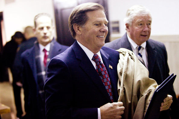 Tom Delay Former U.S. Speaker of the House Tom Delay (C) arrives in the 250th district court of Judge Pat Priest at the Travis County Courthouse on January 10, 2011 in Austin, Texas.  Delay's sentencing loomed through the holidays after an arduous trial where the former Houston-area congressman was convicted on charges of money laundering and conspiracy to commit money laundering in a scheme to illegally funnel corporate money to Texas candidates in 2002.