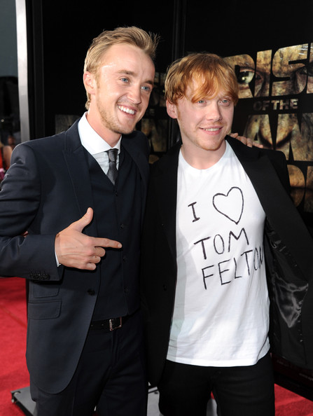 "Tom Felton Actors Tom Felton and Rupert Grint arrive at the premiere of 20th Century Fox's ""Rise Of The Planet Of The Apes"" held at Grauman's Chinese Theatre on July 28, 2011 in Los Angeles, California."