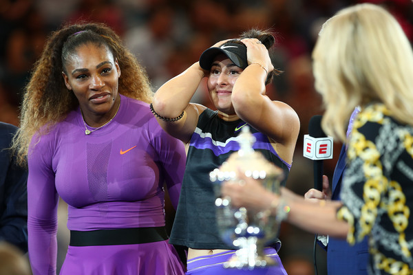 2019 US Open - Day 13 [womens singles,cheerleading,championship,sports,team sport,fan,competition event,competition,bianca andreescu,tom rinaldi,serena williams,canada,united states,espn,us open,trophy presentation ceremony,final]
