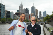 Designer Tommy Hilfiger (R) poses with Josh Gibson during a press call on November 15, 2019 in Melbourne, Australia.