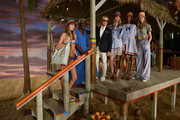 (top l-r) Model  Josephine Le Tutour, designer Tommy Hilfiger, Basil Charles, model Maartje Verhoef, model Tami Williams, and model Julie Hoomans pose at Tommy Hilfiger Women's Spring 2016 during New York Fashion Week: The Shows  at Pier 36 on September 14, 2015 in New York City.