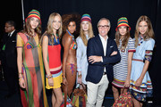 Models pose with designer Tommy Hilfiger backstage at Tommy Hilfiger Women's Spring 2016 during New York Fashion Week: The Shows  at Pier 36 on September 14, 2015 in New York City.