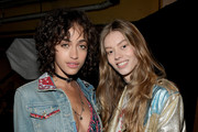 Models Alanna Arrington (L) and Ondria Hardin seen backstage at TommyLand Tommy Hilfiger Spring 2017 Fashion Show on February 8, 2017 in Venice, California.