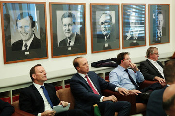 Tony Abbott Liberal and National MPs Gather in Canberra for Part Room Meetings
