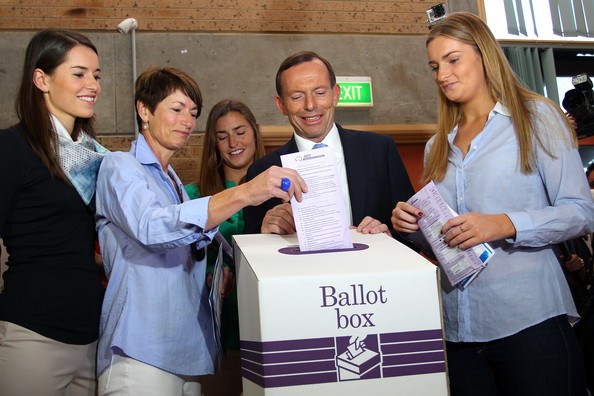 Opposition Leader Tony Abbott Campaigns On Election Day [job,youth,event,employment,adaptation,student,businessperson,white-collar worker,tourism,business,tony abbott,margie,opposition leader,daughters,bridget,vote,australian,coalition,election,victory]