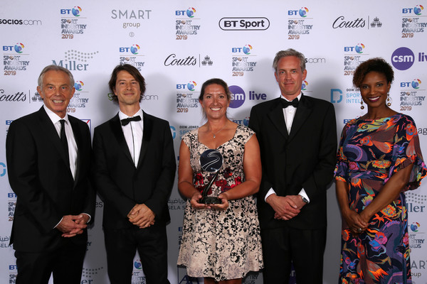 BT Sport Industry Awards 2019 [event,award,award ceremony,tourism,white-collar worker,prime minister,tony blair,recipients,denise lewis,r,bt sport industry awards,social and sustainable development award,british,world,l]
