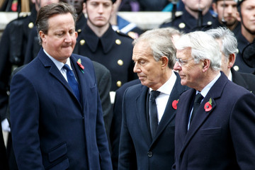 Tony Blair The Royal Family Lay Wreaths at the Cenotaph on Remembrance Sunday