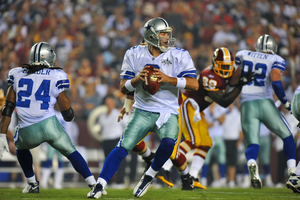 Tony Romo Tony Romo #9 of the Dallas Cowboys looks to pass during the NFL season opener against the Washington Redskins at FedExField on September 12, 2010 in Landover, Maryland.
