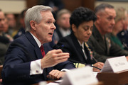 (L-R) Secretary of the Navy Ray Mabus, Vice Chief of Naval Operations Adm. Michelle Howard, Commandant of the Marine Corps Gen. Joseph Dunford testify before the House Armed Services Committee about the FY2016 National Defense Authorization Budget Request in the Rayburn House Office Building on Capitol Hill March 17, 2015 in Washington, DC. All of the service chiefs and the military secretaries warned the committee that the budget cutting measure called 'sequestration' will continue to adversley affect military rediness and put American lives at risk at home and abroad.