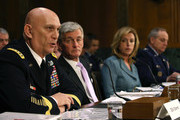 Army Chief of Staff Gen. Raymond Odierno (L) testifies while flanked by (L-R) Secretary of the Army John McHugh, Secretary of the Air Force Deborah Lee James, and Air Force Chief of Staff Gen. Mark Welsh III, during a Senate Armed Services Committee hearing on Capitol Hill March 18, 2015 in Washington, DC. The committee was hearing testimony on President Obamas Defense Authorization Request for FY2016 for of the Department of the Army and the Department of the Air Force.