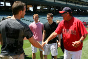 (L-R) Brett Connolly, Cam Fowler, Tyler Seguin and Los Angeles Angels of Anahiem batting coach Mickey Hatcher attend the Top NHL Draft Prospects At Batting Practice at Angel Stadium of Anaheim on June 23, 2010 in Anaheim, California.
