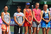 (from L to R) Kimiko Date-Krumm of Japan, Ayumi Morita of Japan, Daniela Hantuchova of Slovakia, Petra Kvitova, and Caroline Wozniacki of Denmark at the opening ceremony during day one of the Toray Pan Pacific Open at Ariake Colosseum on September 22, 2013 in Tokyo, Japan.