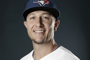 SATURATION WAS REMOVED FROM THIS IMAGE) Troy Tulowitzki #2 of the Toronto Blue Jays poses for a portrait on February 22, 2018 at Dunedin Stadium in Dunedin, Florida.