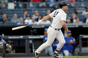Matt Holliday #17 of the New York Yankees hits an RBI double in the first inning against the Toronto Blue Jays on May 2, 2017 at Yankee Stadium in the Bronx borough of New York City.