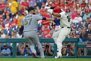 Jorge Alfaro #38 of the Philadelphia Phillies is tagged out by Jaime Garcia #57 of the Toronto Blue Jays in the seventh  inning during a game at Citizens Bank Park on May 26, 2018 in Philadelphia, Pennsylvania. The Phillies won 2-1.