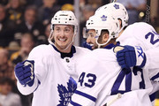 James van Riemsdyk #25 of the Toronto Maple Leafs, celebrates with Nazem Kadri #43 and Tyler Bozak #42 after scoring a goal against the Boston Bruins during the second period of Game Five of the Eastern Conference First Round in the 2018 Stanley Cup play-offs at TD Garden on April 21, 2018 in Boston, Massachusetts.