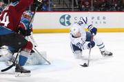 Connor Brown #28 of the Toronto Maple Leafs shoots against goaltender Semyon Varlamov #1 of the Colorado Avalanche at the Pepsi Center on December 29, 2017 in Denver, Colorado.