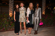 Mafalda (L), Arizona Muse, Elena Santarelli, and Leomie Anderson (R) pose for a picture during Tory Burch Celebrates in Dubai event at One And Only The Palm on October 29, 2019 in Dubai, United Arab Emirates.