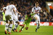 Andy Najar of Anderlecht is closed down by Ben Davies of Spurs and Eric Dier of Spurs during the UEFA Europa League Group J match between Tottenham Hotspur FC and RSC Anderlecht at White Hart Lane on November 5, 2015 in London, United Kingdom.